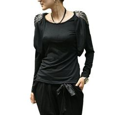 Allegra K Ladies Round Neck Long Sleeve Epaulet Stretchy T Shirt Allegra K. $12.50