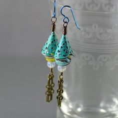 Hand-painted brass filigree cones and crystal tassel earrings by Jennifer Sadler Designs.