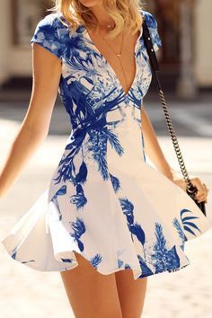 Plunging Neck Blue Floral Print Dress