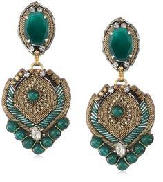 Ranjana Khan The Bellatrix Clip-On Green Earrings - new arrival - Price: $315.00