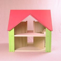Once Upon A TreeHouse | Handmade wooden Custom Cottage dollhouse with dark pink roof & light green sides $325.00