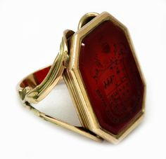 18th century Nobleman's 15ct gold heraldic ring c1790
