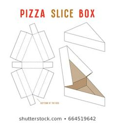 Find Stock Vector Box Pizza Slice Unwrapped stock images in HD and millions of other royalty-free stock photos, illustrations and vectors in the Shutterstock collection. Food Box Packaging, Bakery Packaging, Packaging Design, Diy Gift Box, Diy Box, Diy Gifts, Cake Slice Boxes, Box Cake, Creative Box