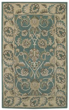 beige and teal area rugs | ... Rugs beautiful beige & teal Kingship traditional 100% wool area rug