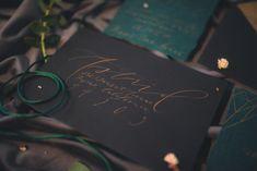 Dark Moody Black Green Gold Geometric Stationery Calligraphy Envelope Lettering | Edgy Emerald City Wedding Ideas http://www.yvonnegollphotography.com/