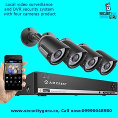 Buy CCTC security Cameras, Local video surveillance and DVR security system with four cameras product - Security Guru