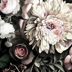 Dark Floral II Black Saturated XXL (300%) Wallpaper