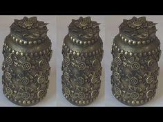 POTE DE AZEITONA RECICLADO - YouTube Bottle Art, Bottle Crafts, Deco Paint, Concrete Pots, Altered Bottles, Stained Glass Art, Stone Art, Glass Bottles, Diy And Crafts