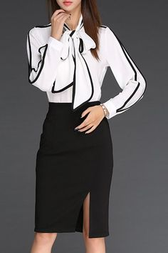 OL Style Bow Tie Collar Long Sleeve Spliced Blouse + High-Waisted Slit Skirt Twinset For Women