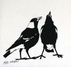 "Carol Thomson ""Magpies Singing"" 10 x acrylic Magpie Tattoo, Australian Birds, Animal Silhouette, Textile Fiber Art, Feather Art, Ceramic Birds, Abstract Nature, Bird Drawings, Pet Birds"