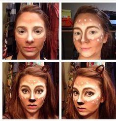 diy women's halloween costumes | Deer Make Up | Diy Halloween Costume Ideas