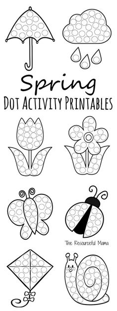 Easy spring activities for preschoolers. These printable spring do a dot activity worksheets are a fun low prep activity for kids that include everything spring from April showers to May flowers. Spring Activities, Toddler Activities, Preschool Activities, Fine Motor Activities For Kids, Spring Theme, Spring Art, Do A Dot, Spring School, Toddler Crafts