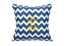 Chevron 18x18 Monogram Pillow, Blue on OneKingsLane.com