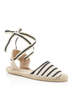 Soludos' ankle-tie flats evoke vacation vibes in crisp, striped cotton and earthy jute. | Cotton upper, cotton lining, jute and rubber sole | Imported | Round toe; lace up ankle ties | Available in fu