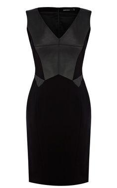 Karen millen Faux Leather and Jersey Pencil Dress in Black | Lyst