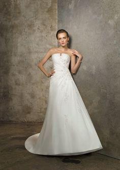 Attractive Strapless Empire Wasit Applique Beads Working Chapel Train Organza Satin Wedding Dress