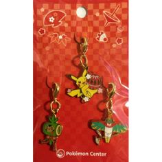 Pokemon Center 2014 New Years Pikachu Chespin Hawlucha Set Of 3 Charms