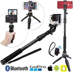 Premium HD Selfie Stick Tripod Photo Kit for New GoPro, iPhone 6 Plus, Android or Camera - Bluetooth Shutter w/ Clip Convenient Carry Bag Included Selfie Stick Camera, Newest Gopro, Electronic Workbench, Bluetooth Remote, Camera Reviews, Gopro Hero, New Iphone, Samsung Galaxy S6, Galaxy S8