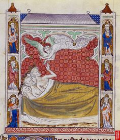 The angel appears to the three Magi in their dreams -  Queen Mary Psalter -  London BL - Royal 2 B VII fol-131v