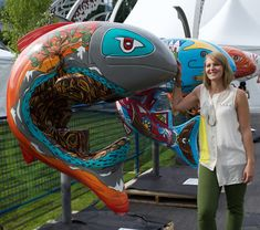 That time I painted a salmon sculpture for the City of Coquitlam! If you are looking for something to do 'Qwik' always loves visitors! He lives in Mundy Park in Coquitlam BC Canada near the baseball diamonds and always has lovely flowers growing around him in the spring ! Tree Paintings, Original Paintings, Nature Artists, Art Bag, Canadian Artists, Public Art, British Columbia, West Coast, Color Splash