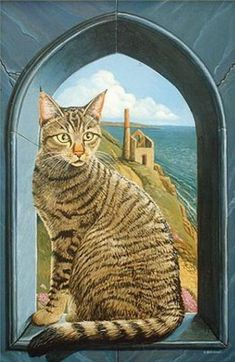 Cat in the window painting. Colin Birchall - Kizzy