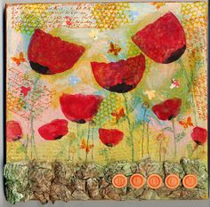 Poppies are a sure sign of summer and I just had to create a mixed media painting of beautiful red poppies that remind me of my native country, Germany. The background of the canvas is made of torn pieces of book pages which are covered with several layers of acrylic paint. The poppy blossoms and stems are painted with acrylic paints and watercolor. In between them, little poppy seed pods peek through. Little butterflies and bees are fluttering across the canvas. For the bottom part of the…