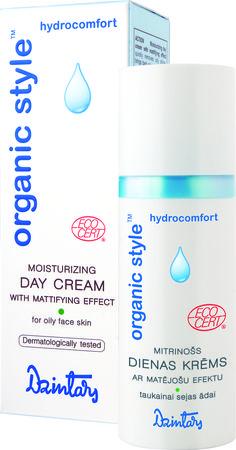 Dzintars Moisturizing day cream with mattifying effect for oily skin, certificated bio-cosmetics from Latvia, ECOCERT
