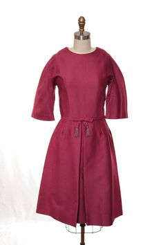 1960s Hot Pink Scooter Style Dress / 60s Tassel Bow by DnJVintage, $88.00