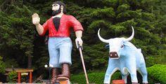 CA - Klamath - Worlds Largest Paul  Bunyan & Babe the blue ox