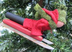 Sledding Christmas Ornament - Clothespin, Felt, Head First Slider - Snow Day #2