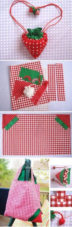 Strawberry Shopper Bag Tutorial   http://www.handmadiya.com/2016/03/strawberry-shopper-bag-tutorial.html