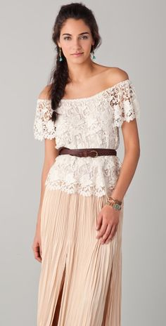Off shoulder lace top & maxi skirt