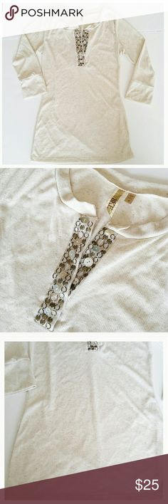 BKE shirt 3/4 length sleeves. Cream colored. Embellished Henley style at neck. This shirt has never been worn and is in brand new condition. NWOT. BKE Tops Tees - Long Sleeve