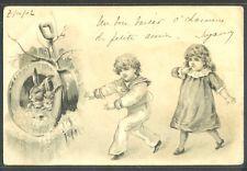KV082 COUPLE d'ENFANTS LAPIN Gaufrée VICTORIAN CHILDREN RABBIT Embossed 1902