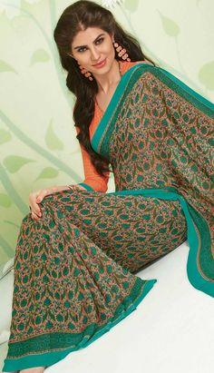 Buy Indian Designer Peach #GeorgettePrintedSaree Product code: KPS-39018 Price: INR 1661 (Unstitch Blouse), Color: Peach Shop Online now: http://www.efello.co/Saree_Indian-Designer-Peach-Georgette-Printed-Saree,-Sari_37595