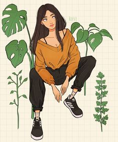 """Roeve on Instagram: """"I drew my friend and her plants. She especially loves a parsley. 😌🌿 And what's your favourite plant? 🌼🌼 #procreate"""" Hufflepuff Pride, Disney Characters, Fictional Characters, Draw, Disney Princess, Friends, Plants, Parsley, Instagram"""