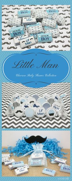 Little Man Chevron Baby Shower Collection features Bow ties and Mustaches.