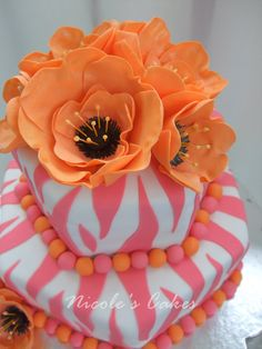 : Vibrant Orange & Pink Mod Zebra Cake by luella Pretty Cakes, Cute Cakes, Beautiful Cakes, Amazing Cakes, 50th Birthday Cake For Women, Pink Birthday Cakes, Birthday Ideas, Zebra Birthday, Birthday Gifts