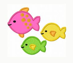 Three Fishes Applique Machine Embroidery by LovelyStitchesDesign