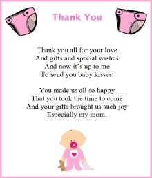 baby shower thank you poems are a superb way to say a heart felt thanks to