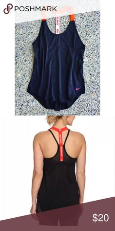 """Nike Elastika Tank This stunning, strappy top is great for high  .  It serves up moisture-wicking, quick-dry technical training tank.  Length 26"""", 71% Nylon / 13% Polyester / 16% Elastane.  NWOT. Nike Tops Tank Tops"""
