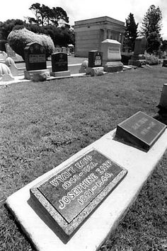 Wyatt Earp, Hills of Eternity, Colma, CA -- this was the original grave marker.  It was vandalized/stolen and replaced some years later.