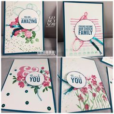 When I saw this set showcased on the Stampin up artisan design team blog I knew I wanted to CASE it, switched some of the colours and embellishments out but the ideas are basically the same - it's ...