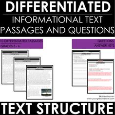 Nonfiction Text Structure - Reading Comprehension Passages and Questions - RUBY Formative And Summative Assessment, 3rd Grade Classroom, School Classroom, Reading Comprehension Passages, Math Lessons, Reading Lessons, Piano Lessons, Teaching Reading, Guided Reading