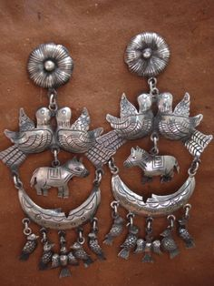 federico jimenez jewelry images | Beautiful Traditional Sterling Silver Earrings From Oaxaca
