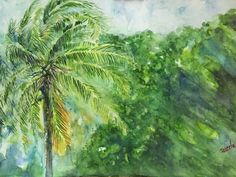 "'Monsoon Fury' by Jazeela Sherif. This is done in water colour using Winsor and Newton water colour paints. The scene depicts the windy monsoon season in Kerala when the coconut tree leaves sways and assumes varying patterns. Size of the painting: 16.5"" x 11.7 """