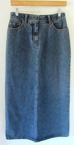 Christopher Banks Denim Jean Maxi Skirt Size 4 Womens Modest Back Slit Cotton #ChristopherBanks #Maxi