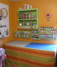 """put a table """"skirt"""" on (with velro?) to hide storage/clutter underneath Drawer Spice Rack, Ikea Spice Rack, Spice Racks, Paint Storage, Craft Storage, Storage Ideas, Storage Solutions, Sewing Rooms, Recycled Furniture"""