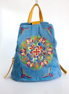 On SALE Boho Hmong Embroidery Bag Denim Backpack by Eyemagnet