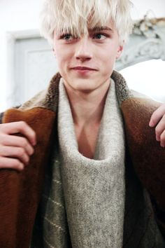 Lucky Blue Smith backstage at Billy Reid FW15